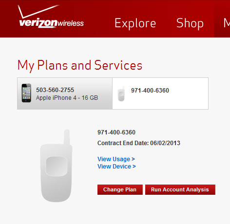 Phone number for verizon